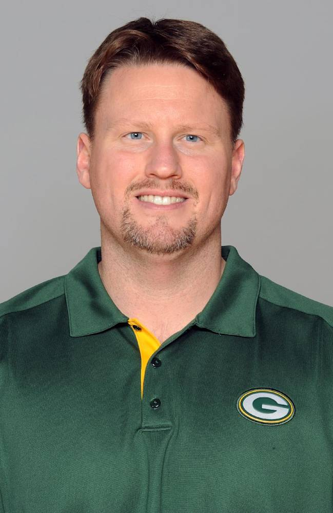This is a 2012 file photo showing Ben McAdoo of the Green Bay Packers NFL football team. McAdoo, hired as the new offensive coordinator for the New York Giants, talks to the media for the first time, Thursday, Feb. 27, 2014, since being hired in January to replace Kevin Gilbride