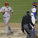 St. Louis Cardinals' Matt Adams (32) scored on an two run single by teammate Jon Jay during the fourth inning of a baseball game against the New York Mets Tuesday, April 22, 2014, in New York The Associated Press