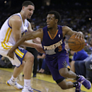 Phoenix Suns' Ish Smith, right, drives the ball against Golden State Warriors' Klay Thompson during the second half of an NBA basketball game Sunday, March 9, 2014, in Oakland, Calif The Associated Press