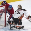 Montreal Canadiens' Alex Galchenyuk can't get the puck past Anaheim Ducks goalie Frederik Andersen during the first period of an NHL hockey game, Thursday, Dec. 18, 2014, in Montreal The Associated Press