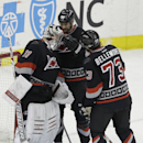 Carolina Hurricanes goalie Anton Khudobin, left, is congratulated by Jay Harrison and Brett Bellemore (73) following the Hurricanes' 5-1 win over the Florida Panthers in an NHL hockey game in Raleigh, N.C., Friday, Feb. 7, 2014 The Associated Press
