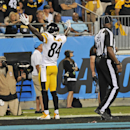 Pittsburgh Steelers' Antonio Brown reacts after a touchdown catch against the Carolina Panthers during the second half of an NFL football game in Charlotte, N.C., Sunday, Sept. 21, 2014 The Associated Press