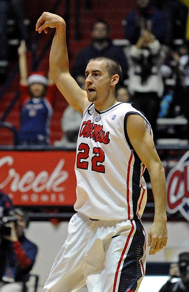 Mississippi guard Marshall Henderson (22) reacts after a 3-point basket during the second half of an NCAA college basketball game against Middle Tennessee State in Oxford, Miss., Saturday, Dec. 14, 2013