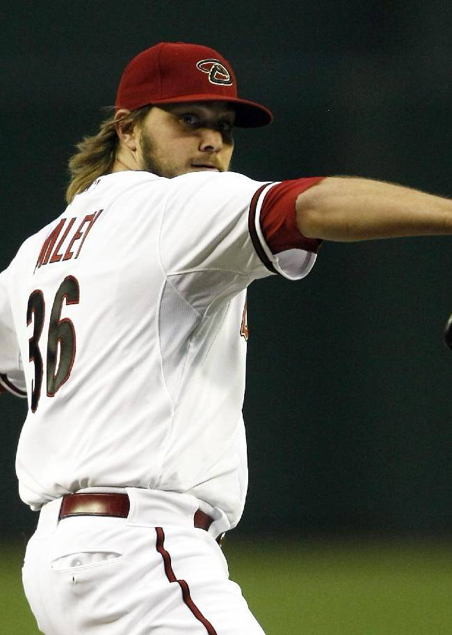 Arizona Diamondbacks starting pitcher Wade Miley (36) throws in the first inning against the San Francisco Giants during a baseball game, Tuesday, April 1, 2014, in Phoenix