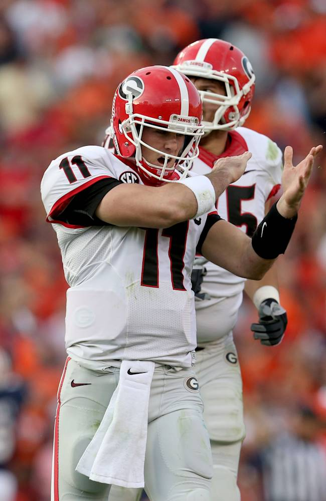 Georgia quarterback Aaron Murray (11) reacts after throwing an interception in the first half NCAA college football game against Auburn at Jordan-Hare Stadium on Saturday, Nov. 16, 2013. Auburn won 43-38
