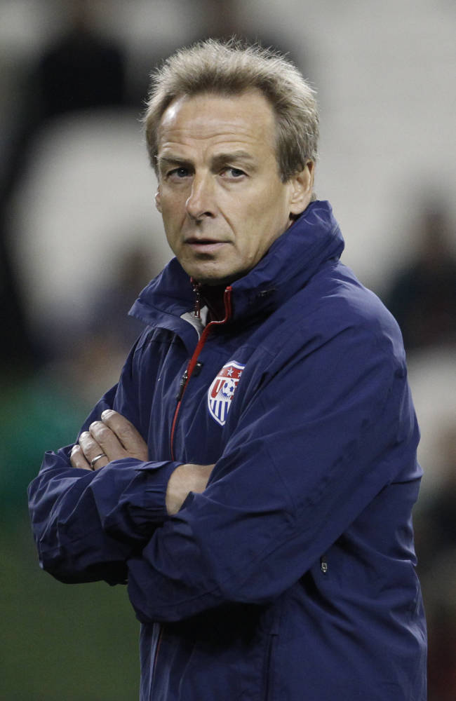 United States' manager Jurgen Klinsmann watches his side during the international friendly soccer match between the Republic of Ireland and the United States,  at the Aviva stadium, Dublin, Ireland, Tuesday, Nov. 18, 2014