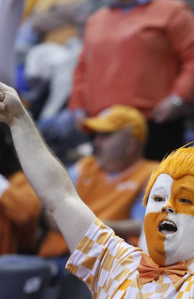 A Tennessee fan yells in the second half of an NCAA college basketball game between Tennessee and Vanderbilt, Monday, Feb. 10, 2014, in Knoxville, Tenn. Tennessee won 81-53