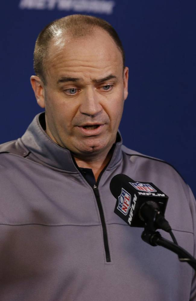 Houston Texans head coach Bill O'Brien answers a question during a news conference at the NFL football scouting combine in Indianapolis, Friday, Feb. 21, 2014