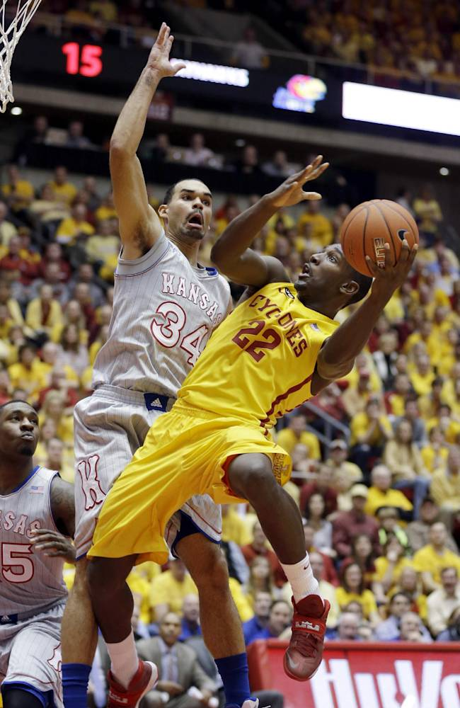 No. 15 Kansas beats No. 8 Iowa State 77-70