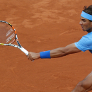 Spain's Rafael Nadal returns the ball to France's Quentin Halys during their first round match of the French Open tennis tournament at the Roland Garros stadium, Tuesday, May 26, 2015 in Paris, . (AP Photo/Michel Euler)