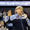 FILE - In this Jan. 5, 2014 file photo, North Carolina head coach Sylvia Hatchell addresses the crowd at halftime of an NCAA women's college basketball game against Maryland in Chapel Hill, N.C. The Hall of Fame coach was absent from the sideline while focusing on treatment for leukemia diagnosed shortly before preseason practice. Her young team made an impressive push all the way to an NCAA regional final, only to see star freshman Diamond DeShields abruptly transfer. (AP Photo/Ellen Ozier, File)