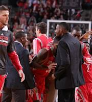 PORTLAND, OR - APRIL 25: The Houston Rockets celebrate after a win against the Portland Trail Blazers in Game Three of the Western Conference Quarterfinals during the 2014 NBA Playoffs on April 25, 2014 at the Moda Center in Portland, Oregon. (Photo by Sam Forencich/NBAE via Getty Images)