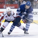 Toronto Maple Leafs forward James van Riemsdyk (21) battles for the puck against Washington Capitals forward Nicklas Backstrom (19) during the second period of an NHL hockey game, Wednesday, Jan. 7, 2015 in Toronto The Associated Press