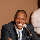 (L/R) Executive Vice President of Basketball Operations Masai Ujiri of the Denver Nuggets speaks to the media during a press conference on August 16, 2012 at the Pepsi Center in Denver, Colorado. (Photo by Garrett W. Ellwood/NBAE via Getty Images)
