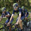 Movistar teammates ride with Colombia's Nairo Quintana, left, during a training session two days before the start of the Tour de France cycling race near Utrecht, Netherlands, Thursday, July 2, 2015. (AP Photo/Laurent Cipriani)