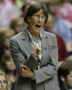 Stanford head coach Tara VanDerveer calls a play against Connecticut during the second half of the semifinal game in the Final Four of the NCAA women's college basketball tournament, Sunday, April 6, 2014, in Nashville, Tenn. (AP Photo/Mark Humphrey)