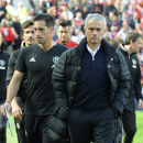 Manchester United manager Jose Mourinho walks on the pitch after the English Premier League soccer match between Manchester United and Stoke City at Old Trafford in Manchester, England, Sunday, Oct. 2, 2016. (AP Photo/Rui Vieira)