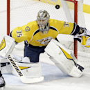 Nashville Predators goalie Pekka Rinne, of Finland, defends against a shot by the Chicago Blackhawks in the second period of an NHL hockey game Thursday, Oct. 23, 2014, in Nashville, Tenn The Associated Press