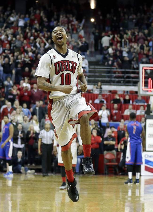UNLV's Daquan Cook celebrates in the final moments of the second half in an NCAA college basketball game against Boise State on Saturday, Feb. 1, 2014, in Las Vegas. UNLV won 73-69
