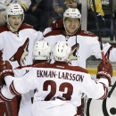 Arizona Coyotes left wing Martin Erat (10), of the Czech Republic, celebrates with Lauri Korpikoski (28), of Finland; Keith Yandle (3) and Oliver Ekman-Larsson (23), of Sweden, after scoring a goal against the Nashville Predators in the third period of a