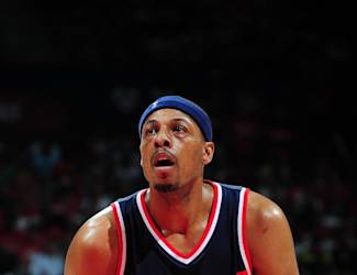 ATLANTA, GA - MAY 13: Paul Pierce #34 of the Washington Wizards prepares to shoot a free throw against the Atlanta Hawks in Game Five of the Eastern Conference Semifinals during the 2015 NBA Playoffs on May 13, 2015 at the Philips Arena in Atlanta, Georgia. (Photo by Scott Cunningham/NBAE via Getty Images)