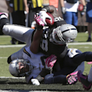 Oakland Raiders wide receiver James Jones, top, scores on a 6-yard touchdown reception over San Diego Chargers inside linebacker Andrew Gachkar during the second quarter of an NFL football game in Oakland, Calif., Sunday, Oct. 12, 2014 The Associated Pres