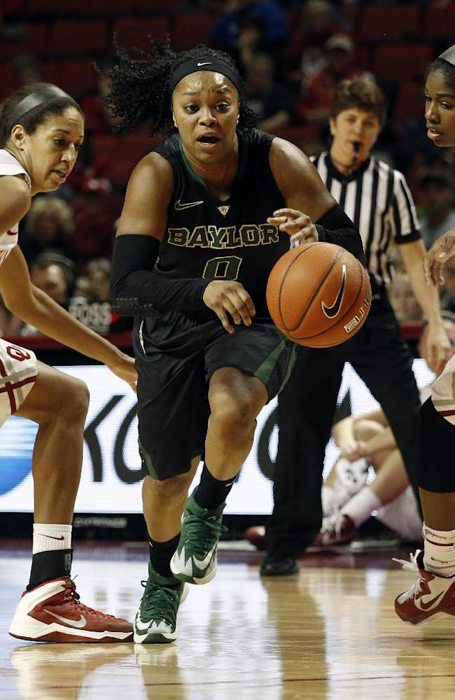 Baylor's Odyssey Sims (0) drives the ball past Oklahoma's Nicole Griffin (4) and Aaryn Ellenberg (3) during the first half of an NCAA college basketball game in Norman, Okla., Feb. 3, 2014