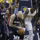 Atlanta Hawks' Pero Antic (6) is fouled by Indiana Pacers' Lance Stephenson (1) during the first half in Game 2 of an opening-round NBA basketball playoff series Tuesday, April 22, 2014, in Indianapolis The Associated Press