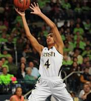 Notre Dame guard Skylar Diggins reaches for a pass in the first half of an NCAA women's college basketball game with South Florida, Saturday, Feb. 25, 2012, in South Bend, Ind. (AP Photo/Joe Raymond)