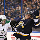 St. Louis Blues left wing Alexander Steen (right) battles against Dallas Stars defenseman Sergei Gonchar in first period action during a game between the St. Louis Blues and the Dallas Stars on Saturday, Nov. 23, 2013, in St. Louis The Associated Press