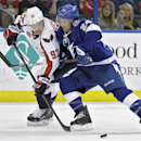 Tampa Bay Lightning right wing Ryan Callahan (24) knocks Washington Capitals center Evgeny Kuznetsov (92), of Russia, off the puck during the third period of an NHL hockey game Tuesday, Dec. 9, 2014, in Tampa, Fla The Associated Press