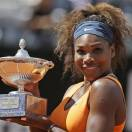 Serena Williams holds the trophy after defeating Belarus' Victoria Azarenka in the final match of the Italian Open tennis tournament in Rome, Sunday, May 19, 2013. Williams won 6-1, 6-3. (AP Photo/Andrew Medichini)