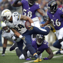 San Diego Chargers running back Ryan Mathews, center, rushes past Baltimore Ravens defenders Terrell Suggs (55), Elvis Dumervil (58) and Matt Elam (26) in the first half of an NFL football game, Sunday, Nov. 30, 2014, in Baltimore. (AP Photo/Nick Wass)