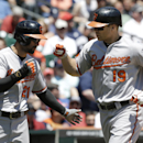 Baltimore Orioles' Chris Davis (19) is congratulated by Nick Markakis (21) after hitting a two-run home run against the Detroit Tigers in the fourth inning of a baseball game in Detroit, Wednesday, June 19, 2013. (AP Photo/Paul Sancya)