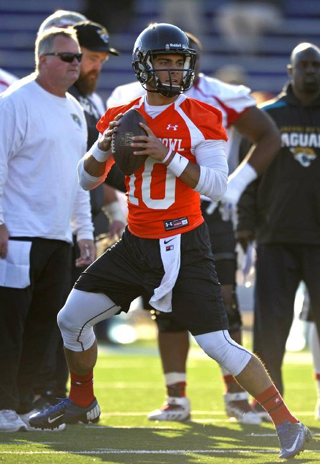South Squad quarterback Jimmy Garoppolo, of Eastern Illinois, drops back to pass during Senior Bowl college football practice at Ladd-Peebles Stadium, Thursday, Jan. 23, 2014, in Mobile, Ala