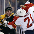 Boston Bruins left wing Milan Lucic (17) and Florida Panthers right wing Krys Barch (21) fight during the first period of an NHL hockey game in Boston, Tuesday, March 4, 2014 The Associated Press