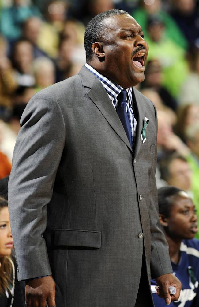 Georgetown head coach Keith Brown shouts instructions to his team during the first half of an NCAA college basketball game against Notre Dame, Tuesday, Jan. 15, 2013, in South Bend, Ind