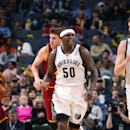 Zach Randolph #50 of the Memphis Grizzlies celebrates during a game against the Cleveland Cavaliers on March 1, 2014 at FedExForum in Memphis, Tennessee. (Photo by Joe Murphy/NBAE via Getty Images)