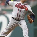 Atlanta Braves starting pitcher Ben Sheets delivers during the first inning in the first baseball game of a doubleheader against the Washington Nationals, Saturday, July 21, 2012, in Washington.  (AP Photo/Carolyn Kaster)