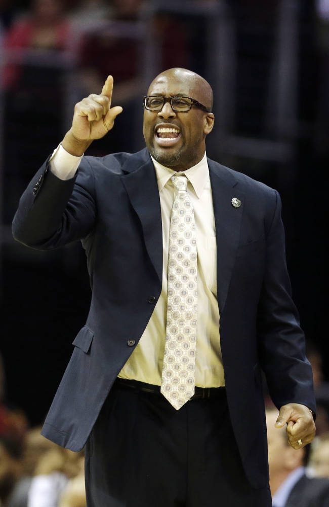 In this April 5, 2014 photo, Cleveland Cavaliers head coach Mike Brown yells at his team during an NBA basketball game against the Charlotte Bobcats in Cleveland. On Monday, May 12, 2014, the Cavaliers announced Brown has been released as head coach. (AP Photo)