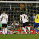 Derby's Chris Martin scores a goal during the English League Cup soccer match between Fulham and Derby County at Craven Cottage stadium in London, Tuesday, Oct. 28, 2014