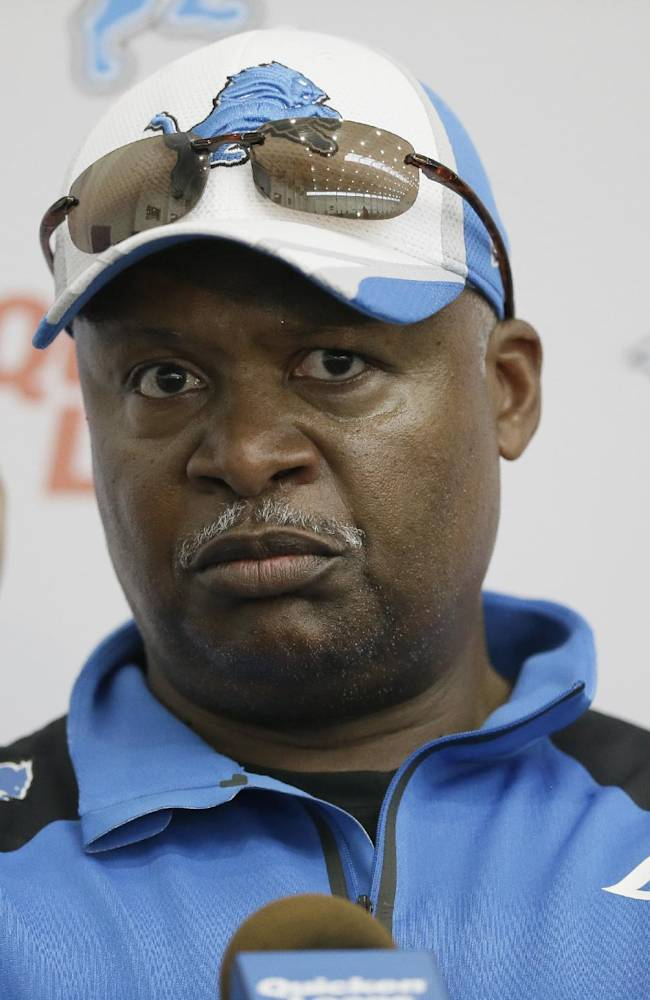 Detroit Lions head coach Jim Caldwell addresses the media after an NFL football minicamp in Allen Park, Mich., Wednesday, June 11, 2014