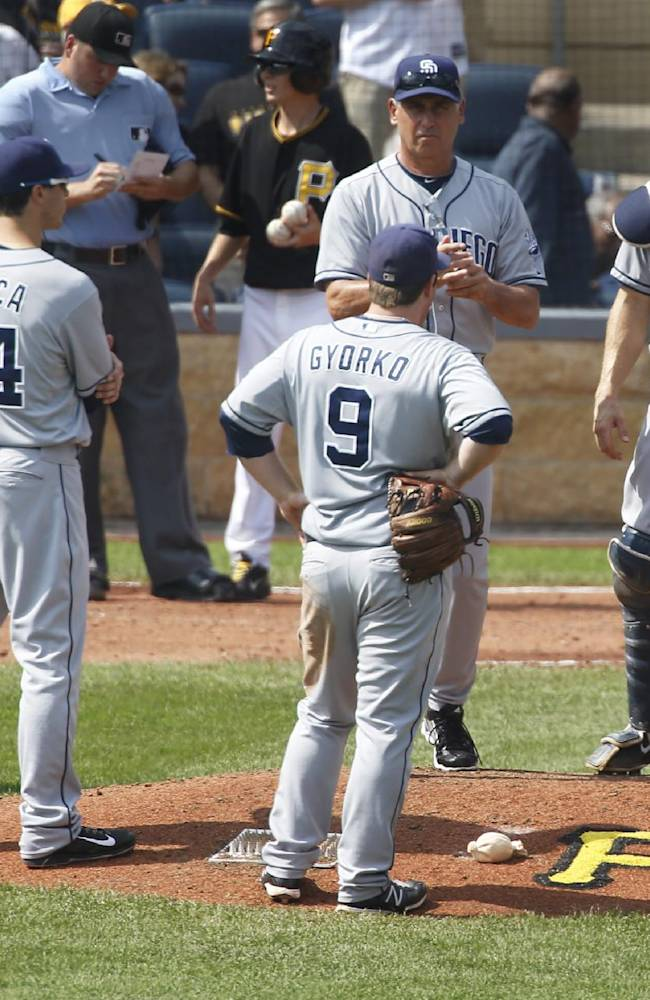 The San Diego Padres infield stands around manager Bud Black, center, after he lifted starting pitcher Ian Kennedy (22) in the fourth inning of the MLB National League baseball game against the Pittsburgh Pirates on Thursday, Sept. 19, 2013, in Pittsburgh