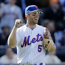 New York Mets third baseman David Wright reacts to the penultimate out in ninth inning as the Mets shut out the Philadelphia Phillies in their home opener baseball game in New York, Monday, April 13, 2015. (AP Photo/Kathy Willens)