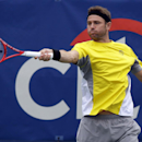 Mardy Fish hits the ball during his match against Julien Benneteau, from France, at the Citi Open tennis tournament, Wednesday, July 31, 2013 in Washington. (AP Photo/Alex Brandon)
