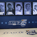The 2016 class of the NASCAR Hall of Fame, from left, Bruton Smith, Terry Labonte, Curtis Turner, Jerry Cook, and Bobby Isaac, is shown during an announcement at the NASCAR Hall of Fame in Charlotte, N.C., Wednesday, May 20, 2015. (AP Photo/Chuck Burton)