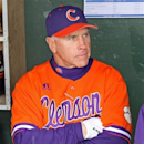 Clemson head coach Jack Leggett stands in the dugout during a rain delay before an NCAA college baseball game against South Carolina at Fluor Field in Greenville, S.C., Saturday, March 2, 2013. (AP Photo/Anderson Independent-Mail, Mark Crammer)