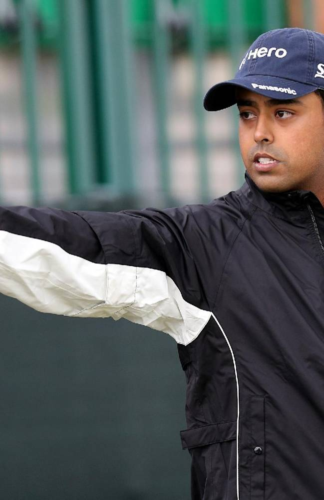 India's Anirban Lahiri tees off from the 13th during a practice round at Royal Liverpool Golf Club prior to the start of the British Open Golf Championship, in Hoylake, England, Monday, July 14, 2014. The 2014 Open Championship starts on Thursday, July 17