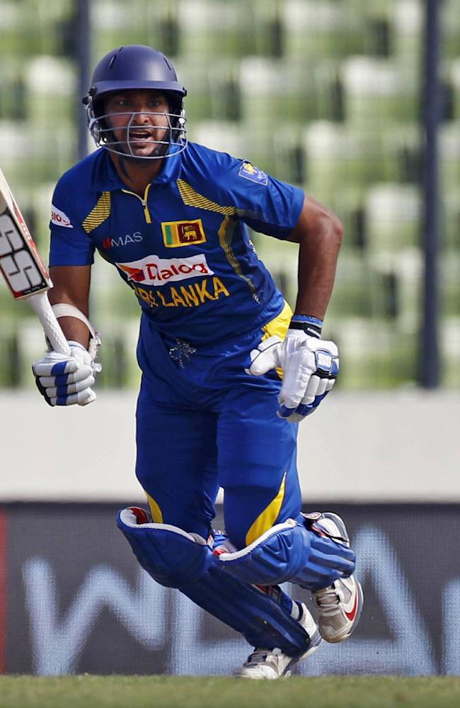 Sri Lanka's Kumar Sangakkara plays a shot during the Asia Cup one-day international cricket tournament against Afghanistan in Dhaka, Bangladesh, Monday, March 3, 2014