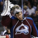Colorado Avalanche goalie Semyon Varlamov, of Russia, reacts after giving up a goal to the Boston Bruins in the second period of an NHL hockey game Wednesday, Jan. 21, 2015, in Denver The Associated Press